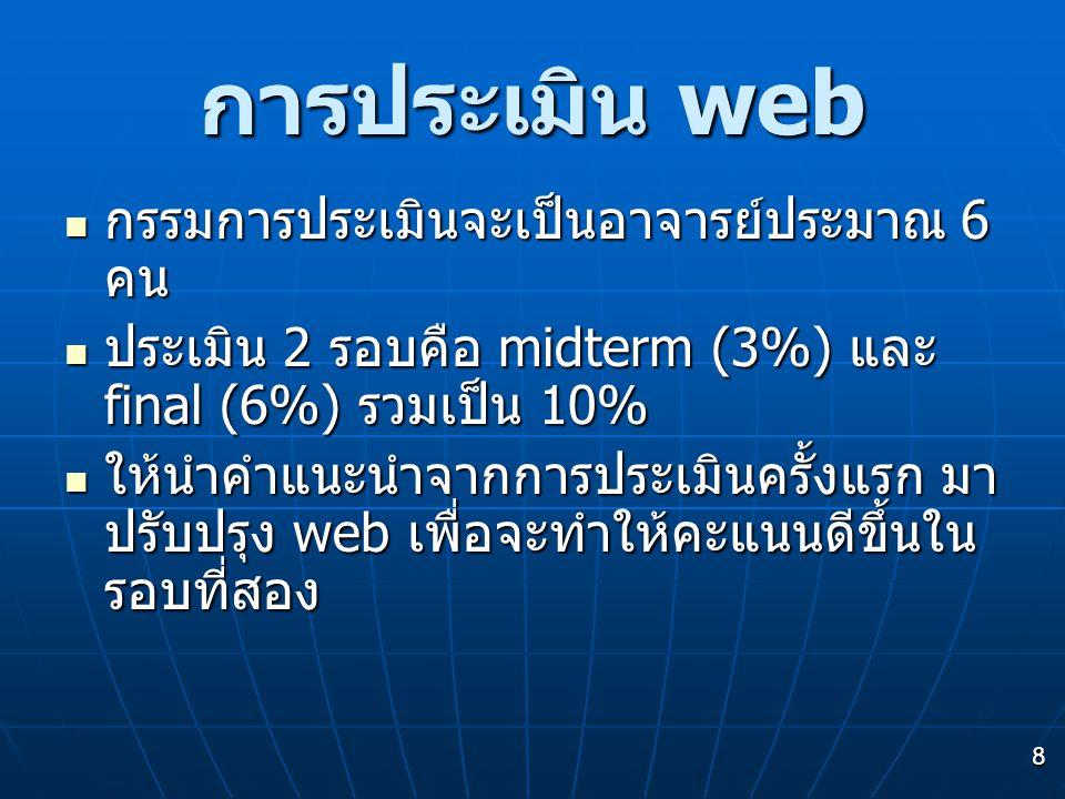 8 การประเมิน web กรรมการประเมินจะเป็นอาจารย์ประมาณ 6 คน กรรมการประเมินจะเป็นอาจารย์ประมาณ 6 คน ประเมิน 2 รอบคือ midterm (3%) และ final (6%) รวมเป็น 10% ประเมิน 2 รอบคือ midterm (3%) และ final (6%) รวมเป็น 10% ให้นำคำแนะนำจากการประเมินครั้งแรก มา ปรับปรุง web เพื่อจะทำให้คะแนนดีขึ้นใน รอบที่สอง ให้นำคำแนะนำจากการประเมินครั้งแรก มา ปรับปรุง web เพื่อจะทำให้คะแนนดีขึ้นใน รอบที่สอง