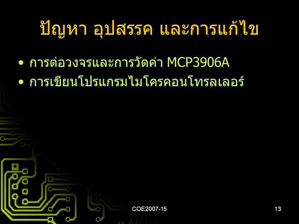 COE2007-1513 ปัญหา อุปสรรค และการแก้ไข การต่อวงจรและการวัดค่า MCP3906A การเขียนโปรแกรมไมโครคอนโทรลเลอร์