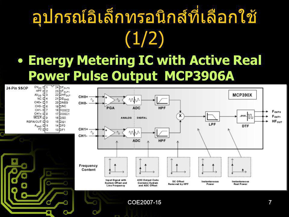 COE2007-157 อุปกรณ์อิเล็กทรอนิกส์ที่เลือกใช้ (1/2) Energy Metering IC with Active Real Power Pulse Output MCP3906A