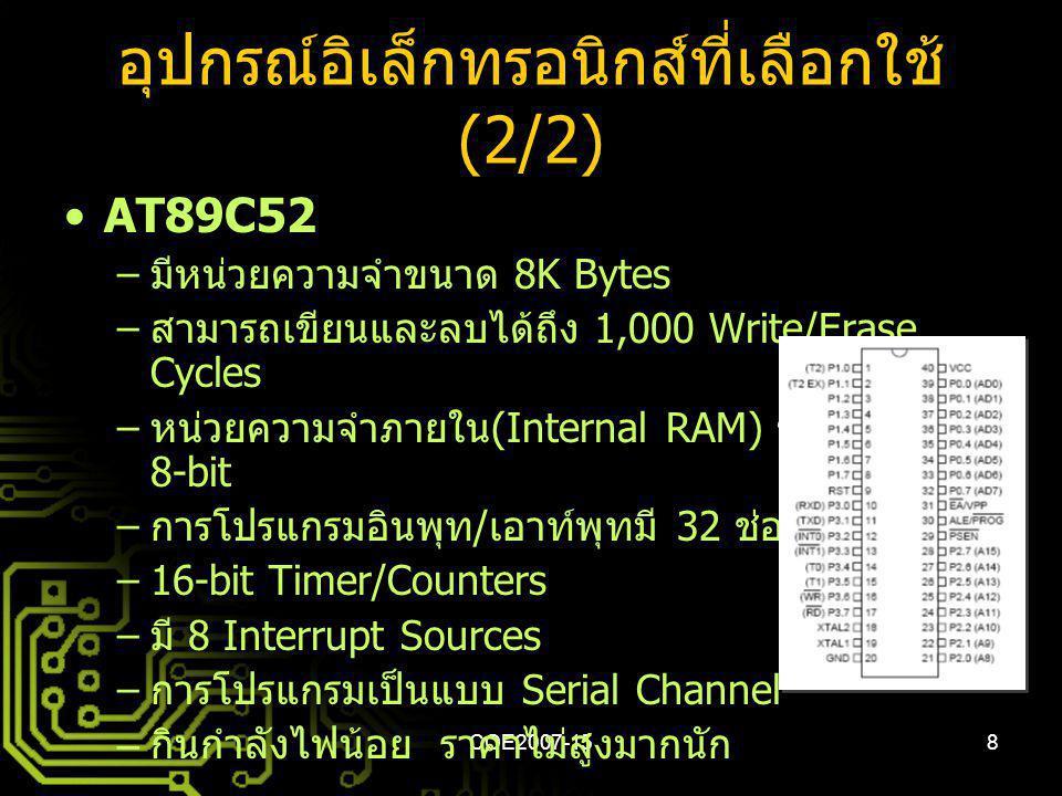 COE2007-158 อุปกรณ์อิเล็กทรอนิกส์ที่เลือกใช้ (2/2) AT89C52 – มีหน่วยความจำขนาด 8K Bytes – สามารถเขียนและลบได้ถึง 1,000 Write/Erase Cycles – หน่วยความจ