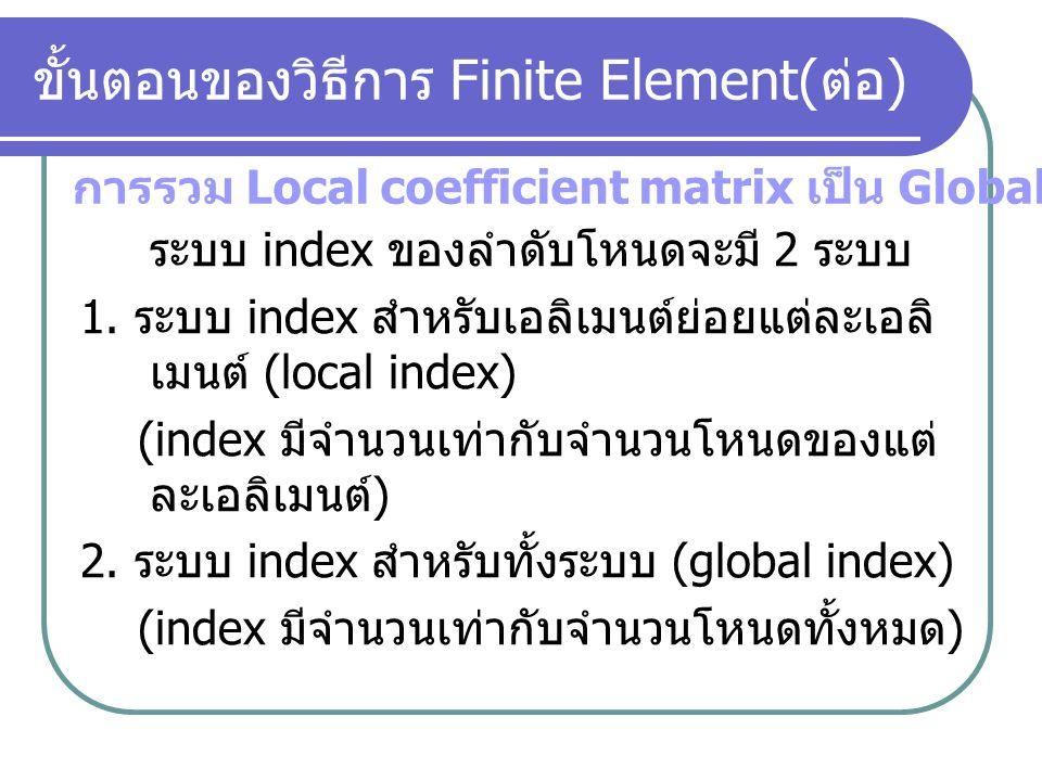 ใช้ประมาณความต่างศักย์ที่จุดใดๆภายในเอลิ เมนต์ สูตร Bilinear interpolation โดย และ A คือ พื้นที่ของเอลิเมนต์ (e) ขั้นตอนของวิธีการ Finite Element( ต่อ ) ฟังก์ชันการประมาณค่าแรงดันภายในเอลิเมนต์