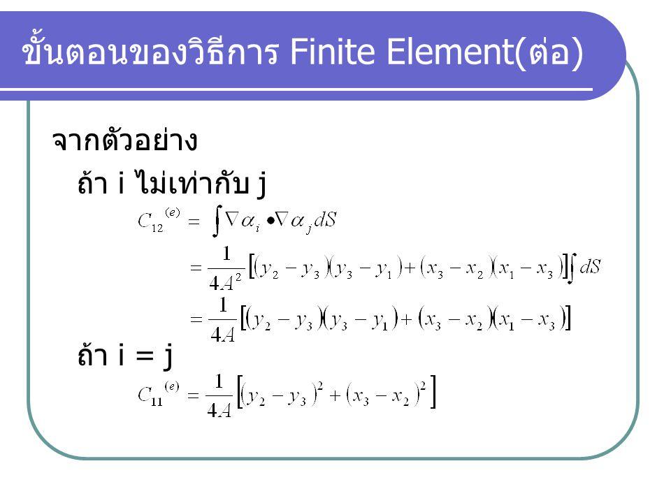 ขั้นตอนของวิธีการ Finite Element( ต่อ ) ใช้หลักการของ Variational Method เปลี่ยนสมการจาก ให้อยู่ใน รูปการ minimize ฟังก์ชั่นพลังงานภายในเอลิ เมนต์ และ