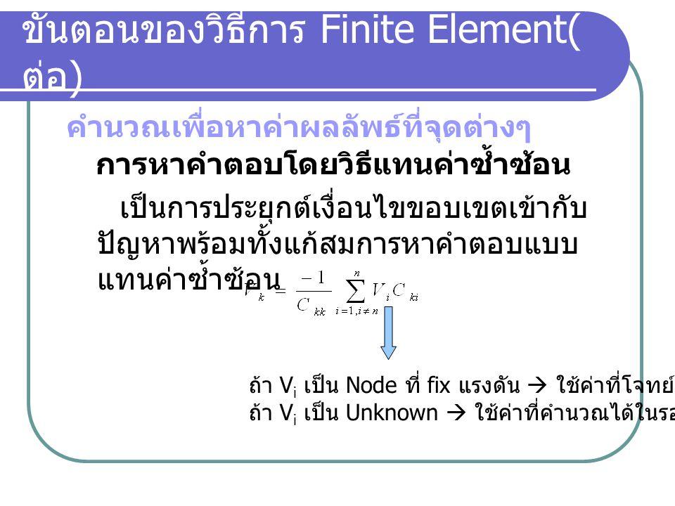 คำนวณจากความสัมพันธ์ระหว่าง local กับ global เช่น ขั้นตอนของวิธีการ Finite Element( ต่อ ) Gnode 4 เป็นทั้ง Lnode 2 ของ เอลิเมนต์ 1 Lnode 3 ของเอลิเมนต