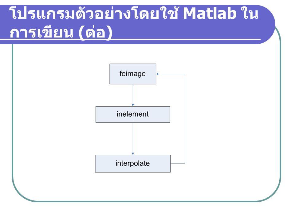 โปรแกรมตัวอย่างโดยใช้ Matlab ใน การเขียน
