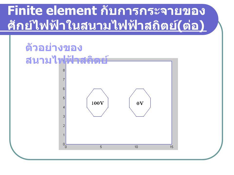 ขั้นตอนของวิธีการ Finite Element( ต่อ ) การหาคำตอบโดยวิธีแทนค่าซ้ำซ้อน เป็นการประยุกต์เงื่อนไขขอบเขตเข้ากับ ปัญหาพร้อมทั้งแก้สมการหาคำตอบแบบ แทนค่าซ้ำซ้อน คำนวณเพื่อหาค่าผลลัพธ์ที่จุดต่างๆ ถ้า V i เป็น Node ที่ fix แรงดัน  ใช้ค่าที่โจทย์กำหนด ถ้า V i เป็น Unknown  ใช้ค่าที่คำนวณได้ในรอบก่อน