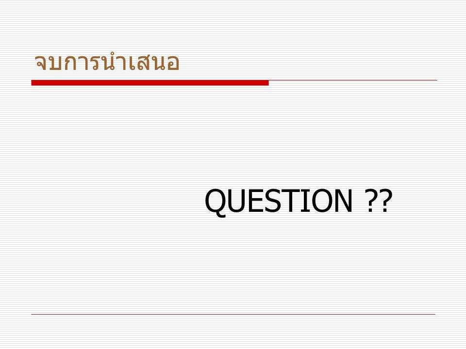 จบการนำเสนอ QUESTION ??