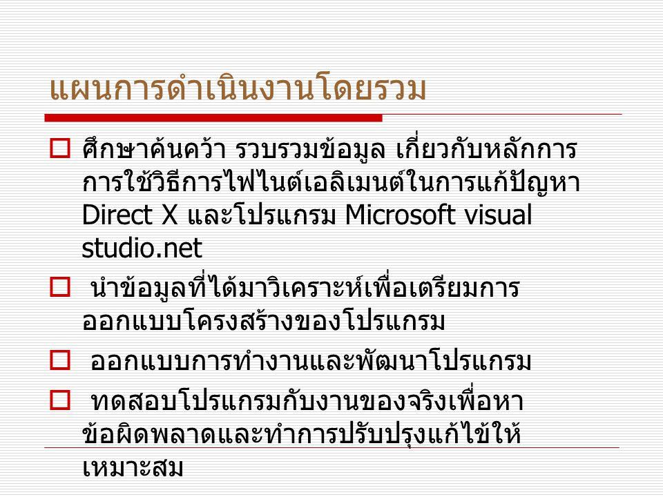 แผนการดำเนินงานโดยรวม  ศึกษาค้นคว้า รวบรวมข้อมูล เกี่ยวกับหลักการ การใช้วิธีการไฟไนต์เอลิเมนต์ในการแก้ปัญหา Direct X และโปรแกรม Microsoft visual studio.net  นำข้อมูลที่ได้มาวิเคราะห์เพื่อเตรียมการ ออกแบบโครงสร้างของโปรแกรม  ออกแบบการทำงานและพัฒนาโปรแกรม  ทดสอบโปรแกรมกับงานของจริงเพื่อหา ข้อผิดพลาดและทำการปรับปรุงแก้ไข้ให้ เหมาะสม