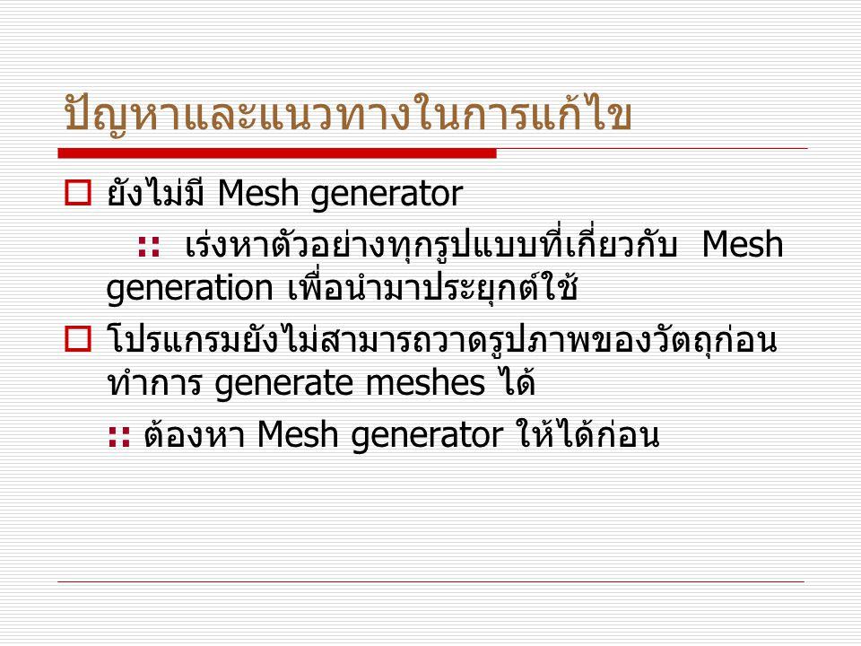 ปัญหาและแนวทางในการแก้ไข  ยังไม่มี Mesh generator :: เร่งหาตัวอย่างทุกรูปแบบที่เกี่ยวกับ Mesh generation เพื่อนำมาประยุกต์ใช้  โปรแกรมยังไม่สามารถวาดรูปภาพของวัตถุก่อน ทำการ generate meshes ได้ :: ต้องหา Mesh generator ให้ได้ก่อน