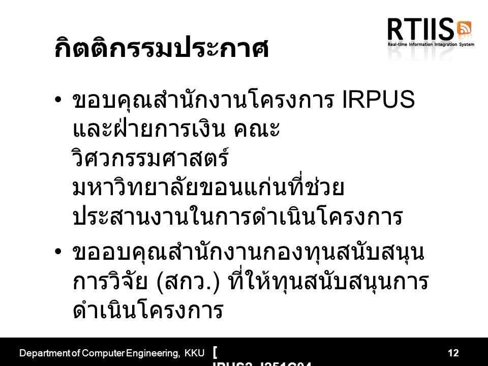 กิตติกรรมประกาศ ขอบคุณสำนักงานโครงการ IRPUS และฝ่ายการเงิน คณะ วิศวกรรมศาสตร์ มหาวิทยาลัยขอนแก่นที่ช่วย ประสานงานในการดำเนินโครงการ ขออบคุณสำนักงานกอง