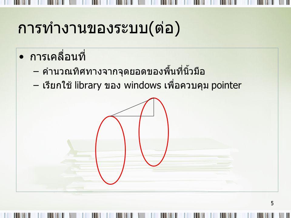 การทำงานของระบบ(ต่อ) การเคลื่อนที่ –คำนวณทิศทางจากจุดยอดของพื้นที่นิ้วมือ –เรียกใช้ library ของ windows เพื่อควบคุม pointer 5