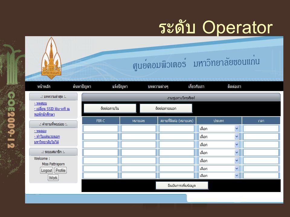 ระดับ Operator Fill call center form กรอกข้อมูลที่ โอเปอเรเตอร์ รับสาย Edit Profile แก้ไขข้อมูลของตัวเอง Create Report สร้างรายงานการปฏิบัติหน้าที่ ขอ