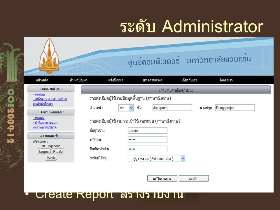 ระดับ Administrator Add/Delete User สามารถเพิ่มและลบสมาชิก ของระบบได้ Edit Profile แก้ไข้ข้อมูลของตัวเอง Edit User แก้ไขข้อมูลผู้ใช้ระบบ Grant User กำ