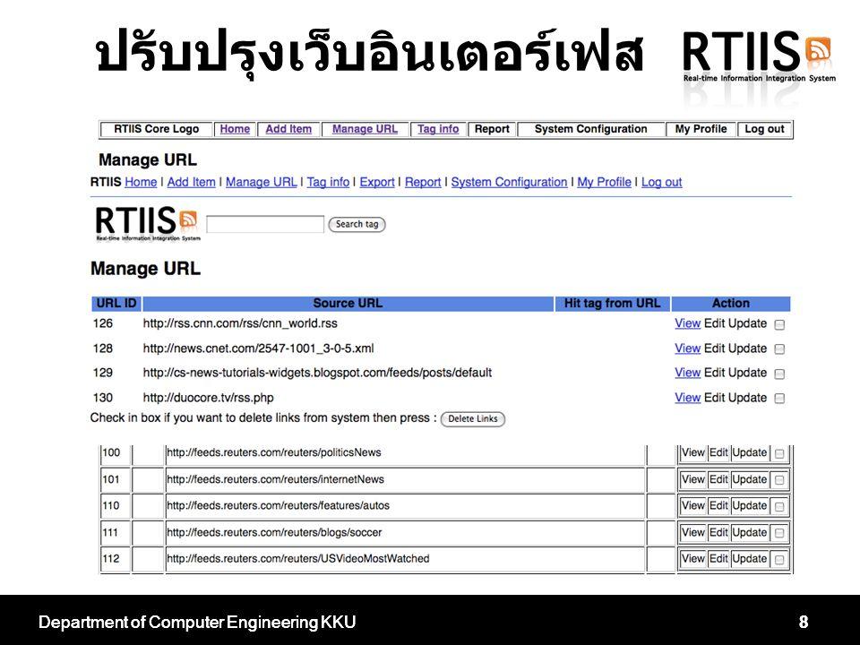 Department of Computer Engineering KKU8 8 ปรับปรุงเว็บอินเตอร์เฟส