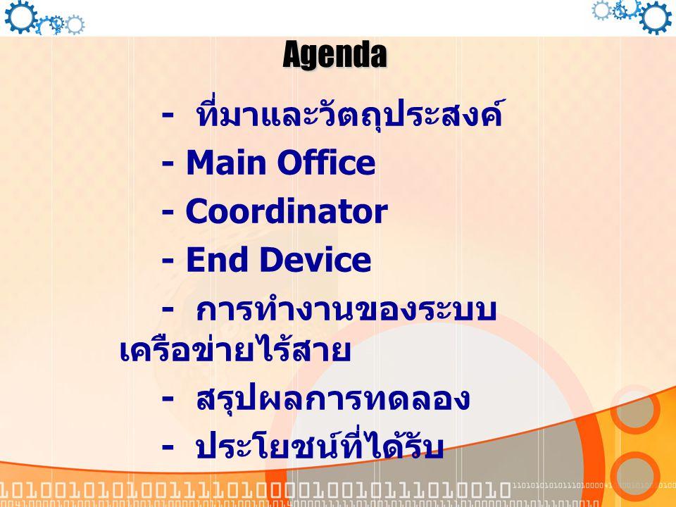 Agenda - ที่มาและวัตถุประสงค์ - Main Office - Coordinator - End Device - การทำงานของระบบ เครือข่ายไร้สาย - สรุปผลการทดลอง - ประโยชน์ที่ได้รับ