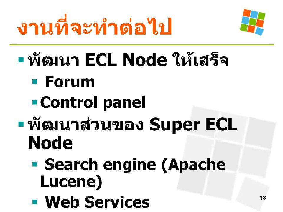 13 งานที่จะทำต่อไป  พัฒนา ECL Node ให้เสร็จ  Forum  Control panel  พัฒนาส่วนของ Super ECL Node  Search engine (Apache Lucene)  Web Services