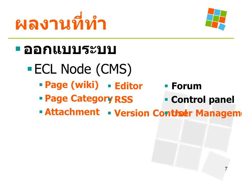 7 ผลงานที่ทำ  ออกแบบระบบ  ECL Node (CMS)  Page (wiki)  Page Category  Attachment  Editor  RSS  Version Control  Forum  Control panel  User