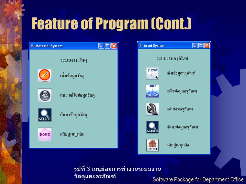 Feature of Program (Cont.) รูปที่ 3 เมนูย่อยการทำงานระบบงาน วัสดุและครุภัณฑ์ Software Package for Department Office