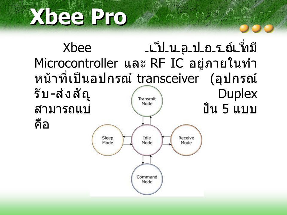 Xbee Pro Xbee เป็นอุปกรณ์ที่มี Microcontroller และ RF IC อยู่ภายในทำ หน้าที่เป็นอุปกรณ์ transceiver ( อุปกรณ์ รับ - ส่งสัญญาณ ) แบบ Half Duplex สามารถ