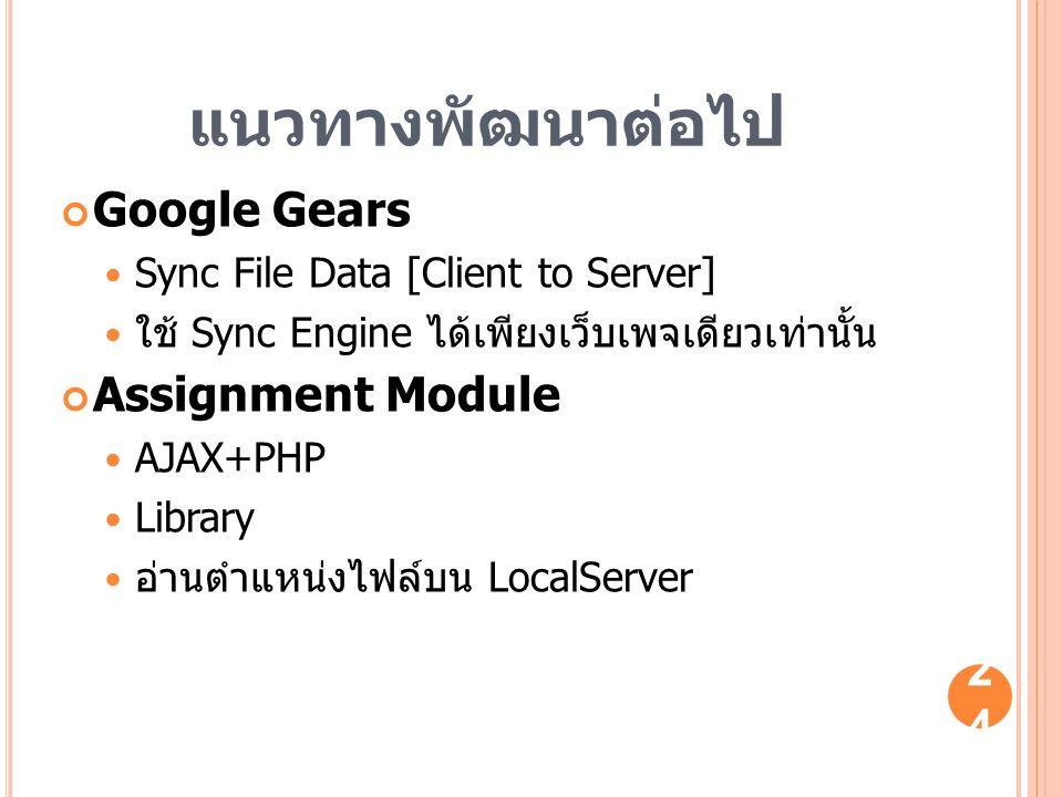แนวทางพัฒนาต่อไป Google Gears Sync File Data [Client to Server] ใช้ Sync Engine ได้เพียงเว็บเพจเดียวเท่านั้น Assignment Module AJAX+PHP Library อ่านตำ