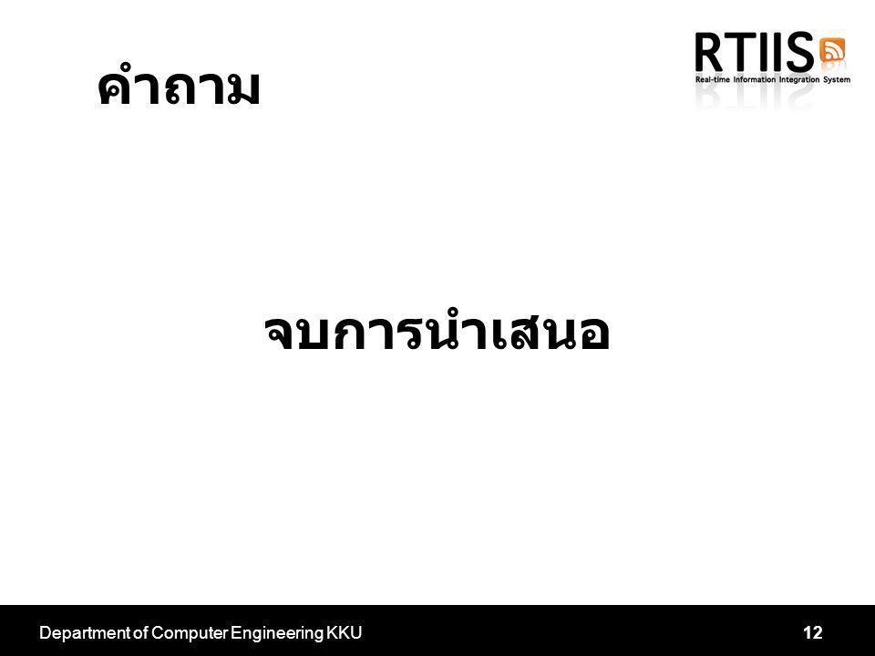 Department of Computer Engineering KKU12 คำถาม จบการนำเสนอ