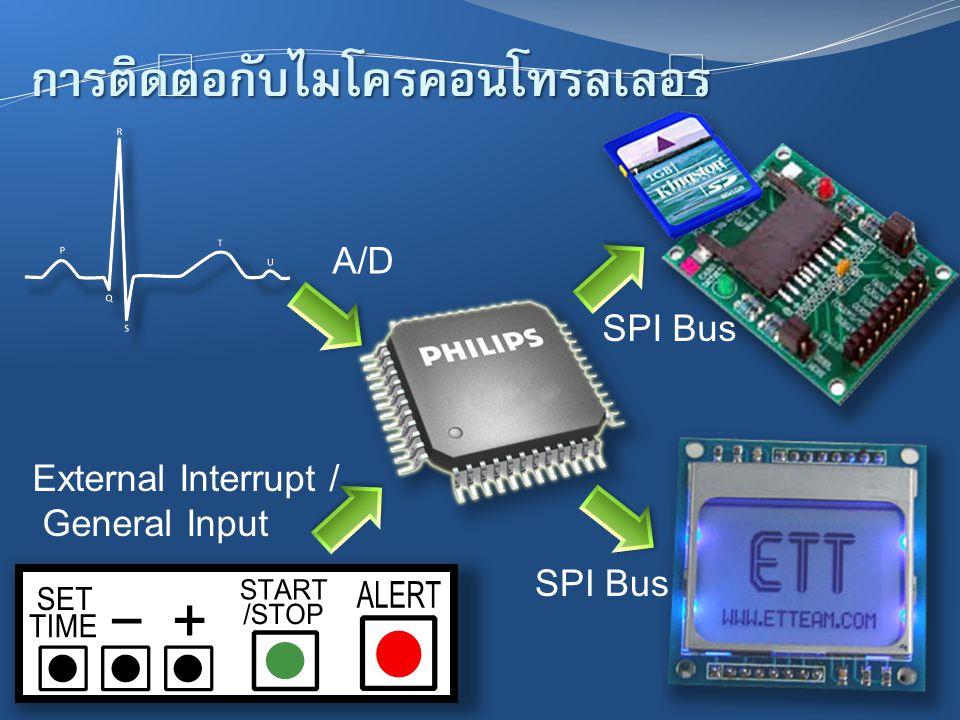 การติดต่อกับไมโครคอนโทรลเลอร์ SPI Bus External Interrupt / General Input A/D