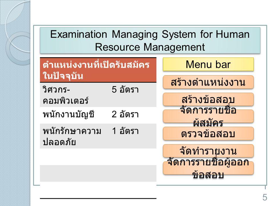 15 ตำแหน่งงานที่เปิดรับสมัคร ในปัจจุบัน วิศวกร - คอมพิวเตอร์ 5 อัตรา พนักงานบัญชี 2 อัตรา พนักรักษาความ ปลอดภัย 1 อัตรา Examination Managing System fo