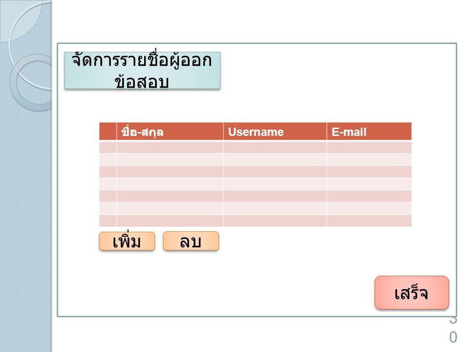 30 เสร็จ จัดการรายชื่อผู้ออก ข้อสอบ ชื่อ - สกุล UsernameE-mail เพิ่ม ลบ
