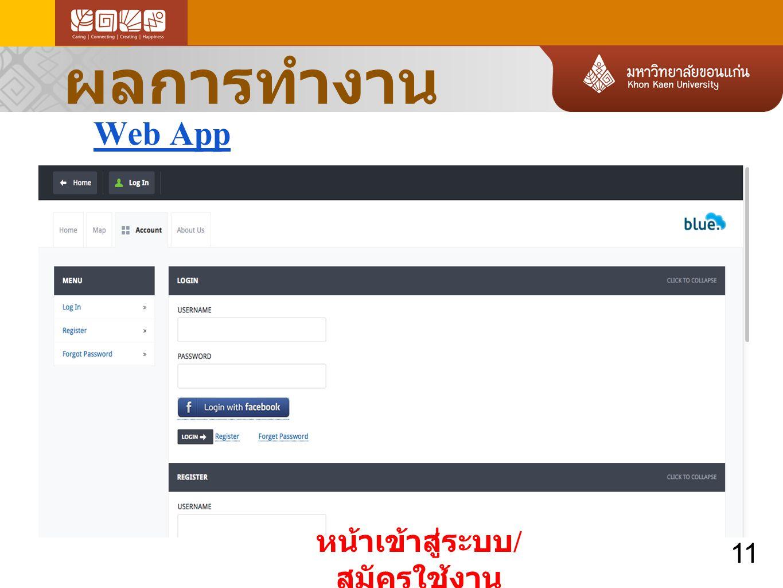 ผลการทำงาน Web App หน้าเข้าสู่ระบบ / สมัครใช้งาน 11