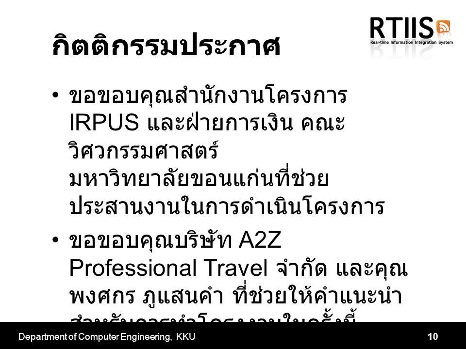 กิตติกรรมประกาศ ขอขอบคุณสำนักงานโครงการ IRPUS และฝ่ายการเงิน คณะ วิศวกรรมศาสตร์ มหาวิทยาลัยขอนแก่นที่ช่วย ประสานงานในการดำเนินโครงการ ขอขอบคุณบริษัท A