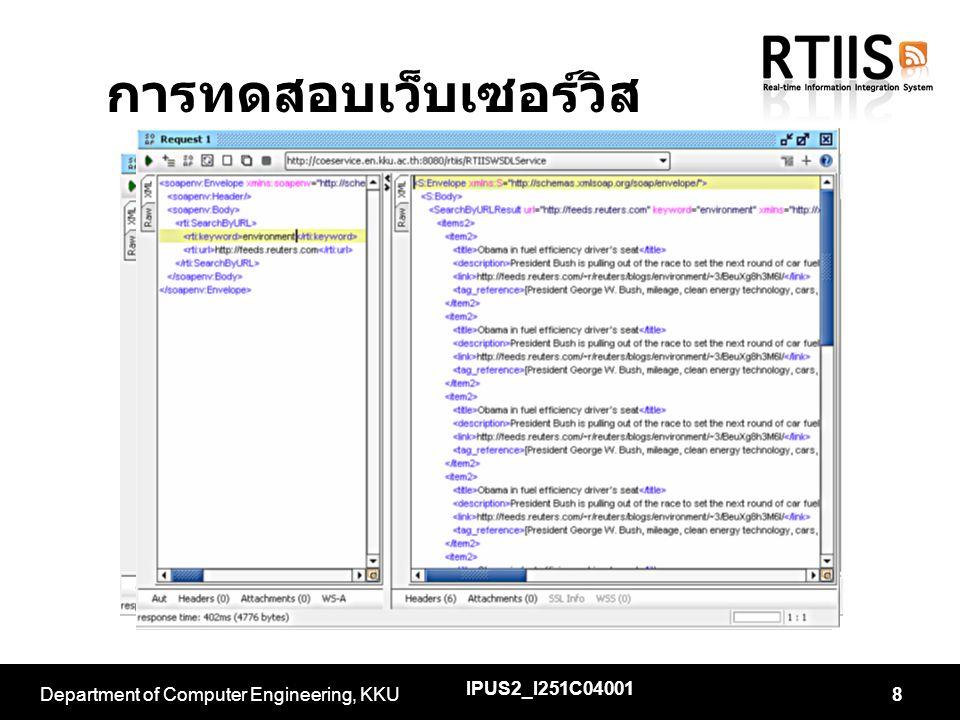 การทดสอบเว็บเซอร์วิส IPUS2_I251C04001 Department of Computer Engineering, KKU8
