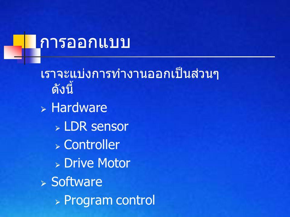 การออกแบบ เราจะแบ่งการทำงานออกเป็นส่วนๆ ดังนี้  Hardware  LDR sensor  Controller  Drive Motor  Software  Program control