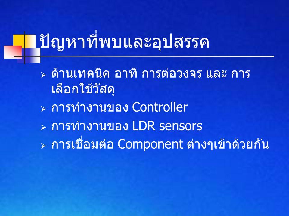 ปัญหาที่พบและอุปสรรค  ด้านเทคนิค อาทิ การต่อวงจร และ การ เลือกใช้วัสดุ  การทำงานของ Controller  การทำงานของ LDR sensors  การเชื่อมต่อ Component ต่างๆเข้าด้วยกัน