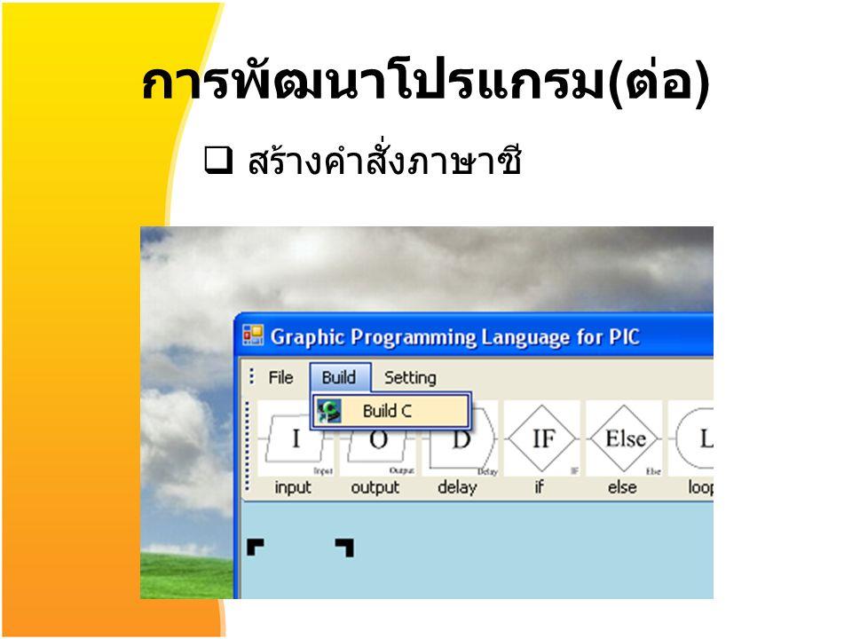 การพัฒนาโปรแกรม ( ต่อ )  สร้างคำสั่งภาษาซี