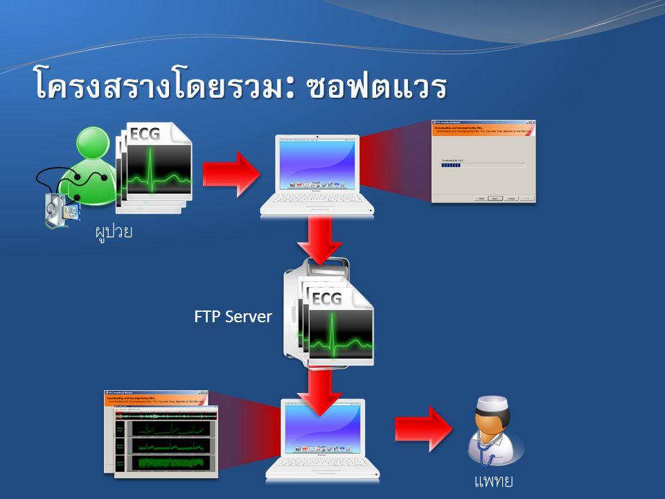 โครงสร้างโดยรวม : ซอฟต์แวร์ FTP Server ผู้ป่วย แพทย์