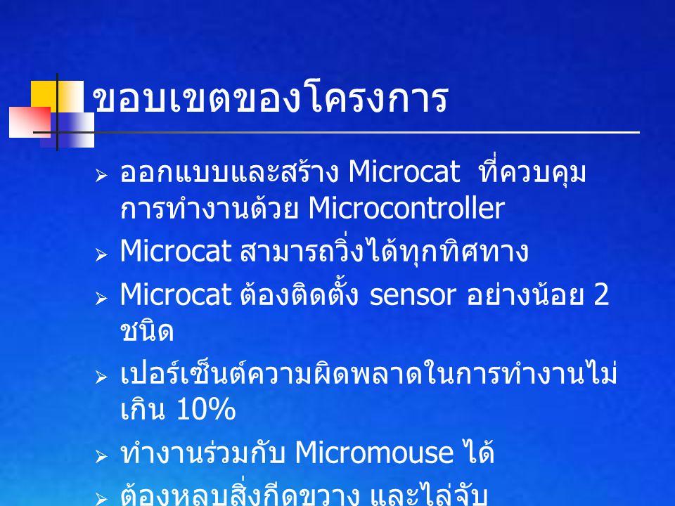 ออกแบบและสร้าง Microcat ที่ควบคุม การทำงานด้วย Microcontroller  Microcat สามารถวิ่งได้ทุกทิศทาง  Microcat ต้องติดตั้ง sensor อย่างน้อย 2 ชนิด  เปอร์เซ็นต์ความผิดพลาดในการทำงานไม่ เกิน 10%  ทำงานร่วมกับ Micromouse ได้  ต้องหลบสิ่งกีดขวาง และไล่จับ Micromouse ได้ ขอบเขตของโครงการ
