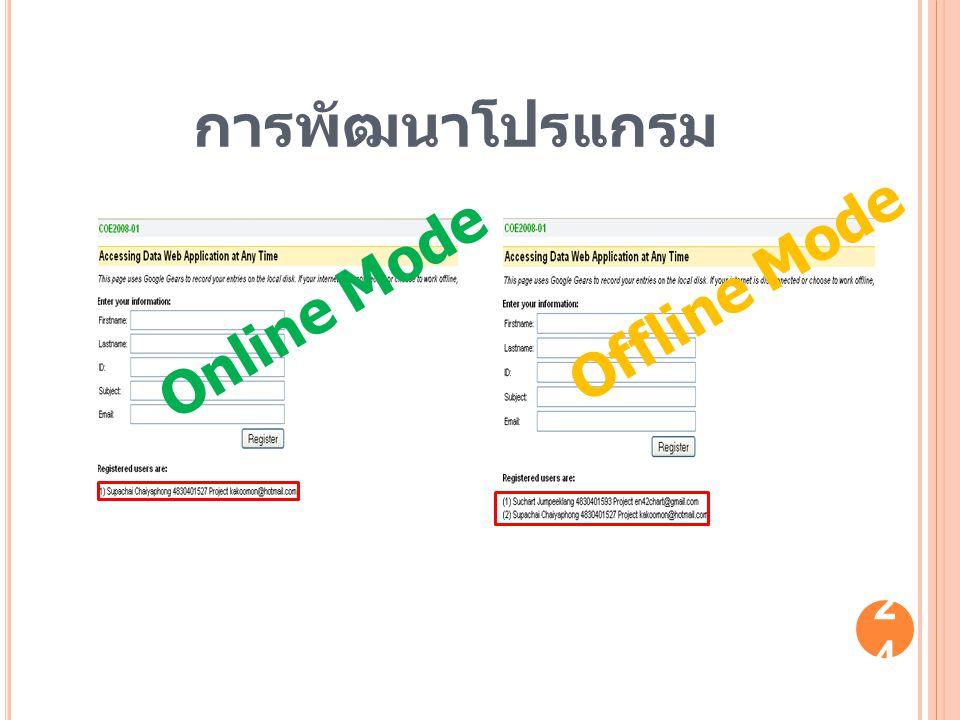 24 Offline Mode Online Mode การพัฒนาโปรแกรม