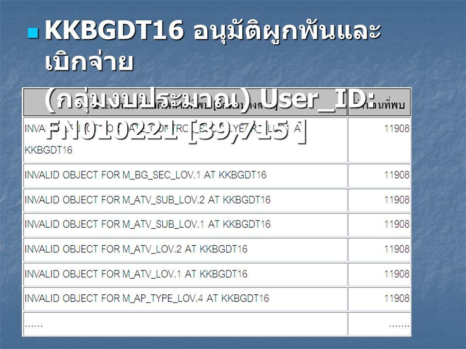 KKBGDT16 อนุมัติผูกพันและ เบิกจ่าย KKBGDT16 อนุมัติผูกพันและ เบิกจ่าย ( กลุ่มงบประมาณ ) User_ID: FN010221 [39,715 ]