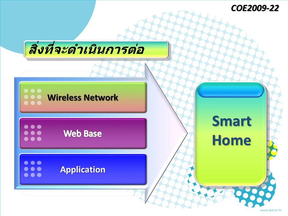 Wireless Network Application Smart Home สิ่งที่จะดำเนินการต่อ COE2009-22