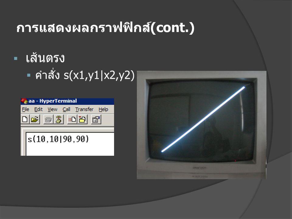 การแสดงผลกราฟฟิกส์ (cont.)  เส้นตรง  คำสั่ง s(x1,y1|x2,y2)