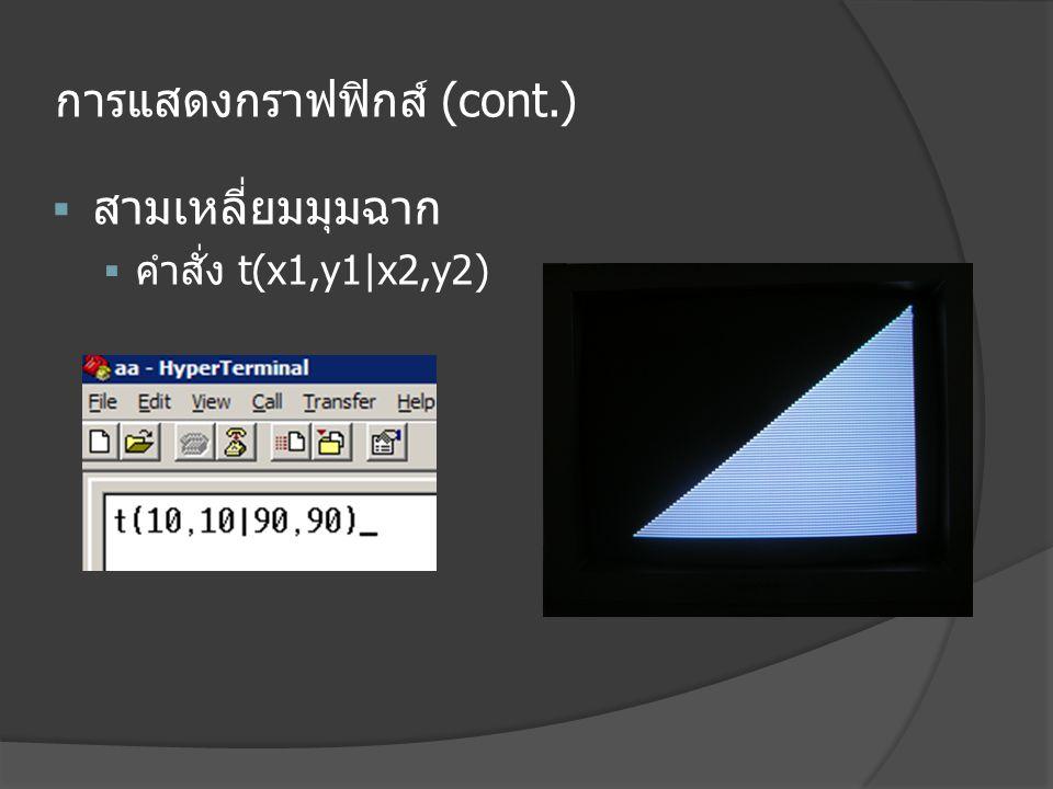 การแสดงกราฟฟิกส์ (cont.)  สามเหลี่ยมมุมฉาก  คำสั่ง t(x1,y1|x2,y2)