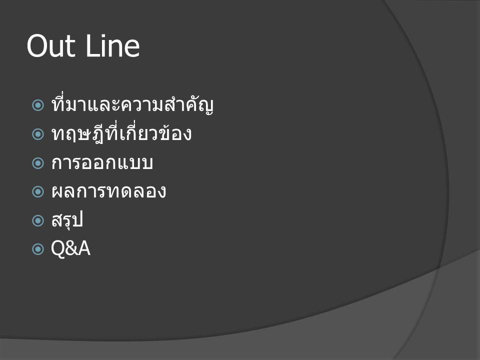Out Line  ที่มาและความสำคัญ  ทฤษฎีที่เกี่ยวข้อง  การออกแบบ  ผลการทดลอง  สรุป  Q&A