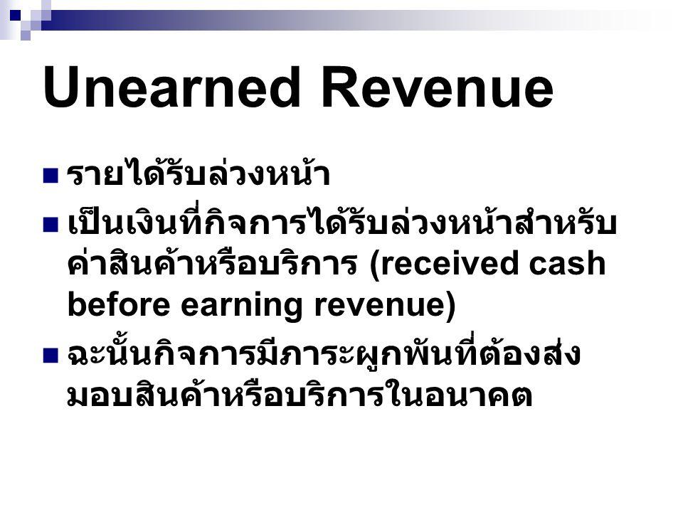 Unearned Revenue รายได้รับล่วงหน้า เป็นเงินที่กิจการได้รับล่วงหน้าสำหรับ ค่าสินค้าหรือบริการ (received cash before earning revenue) ฉะนั้นกิจการมีภาระ
