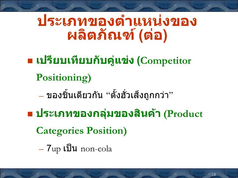 """18 ประเภทของตำแหน่งของ ผลิตภัณฑ์ ( ต่อ ) เปรียบเทียบกับคู่แข่ง (Competitor Positioning) – ของชิ้นเดียวกัน """" ตั้งฮั่วเส็งถูกกว่า """" ประเภทของกลุ่มของสิน"""