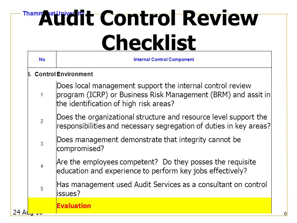 Thammasat University Audit Control Review Checklist 24 Aug 10 6 NoInternal Control Component I. Control Environment 1 Does local management support th
