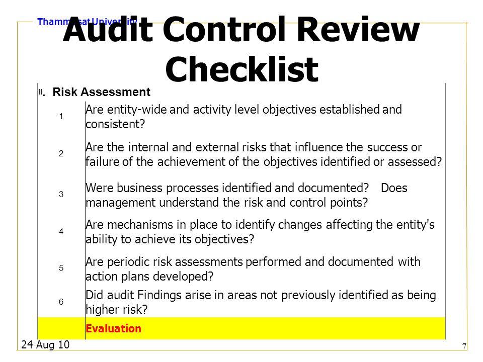 Thammasat University 24 Aug 10 8 Audit Control Review Checklist III.