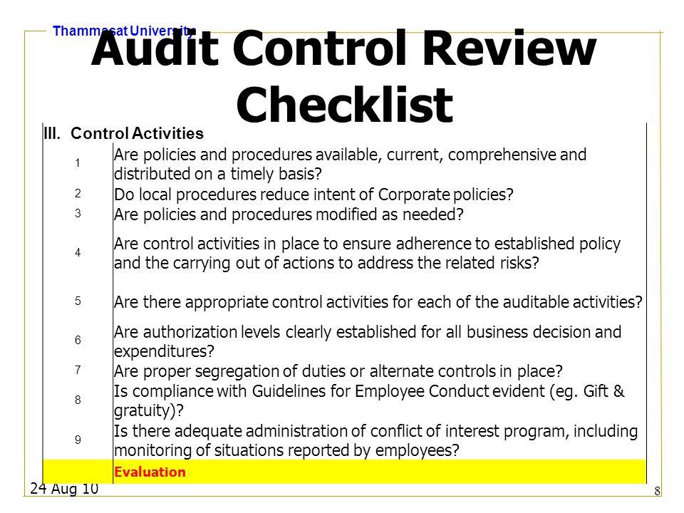 Thammasat University Audit Control Review Checklist IV.