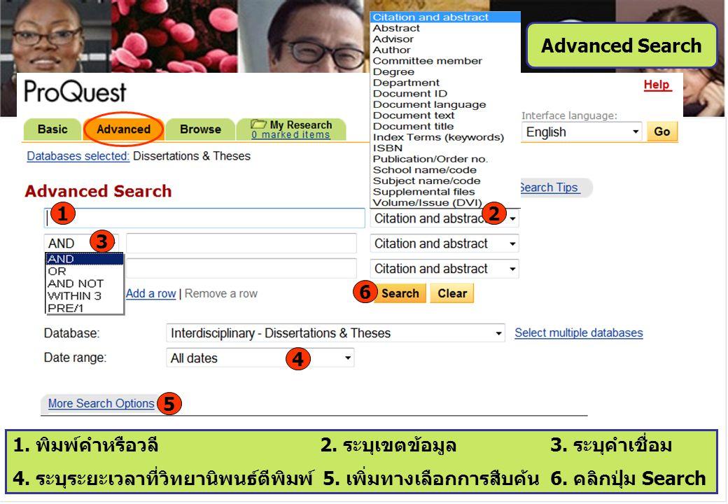 6 4 5 1 Advanced Search 3 1. พิมพ์คำหรือวลี 2. ระบุเขตข้อมูล 3. ระบุคำเชื่อม 4. ระบุระยะเวลาที่วิทยานิพนธ์ตีพิมพ์ 5. เพิ่มทางเลือกการสืบค้น6. คลิกปุ่ม