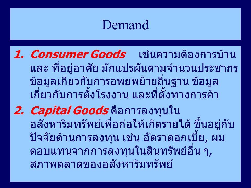 Demand 1.Consumer Goods เช่นความต้องการบ้าน และ ที่อยู่อาศัย มักแปรผันตามจำนวนประชากร ข้อมูลเกี่ยวกับการอพยพย้ายถิ่นฐาน ข้อมูล เกี่ยวกับการตั้งโรงงาน