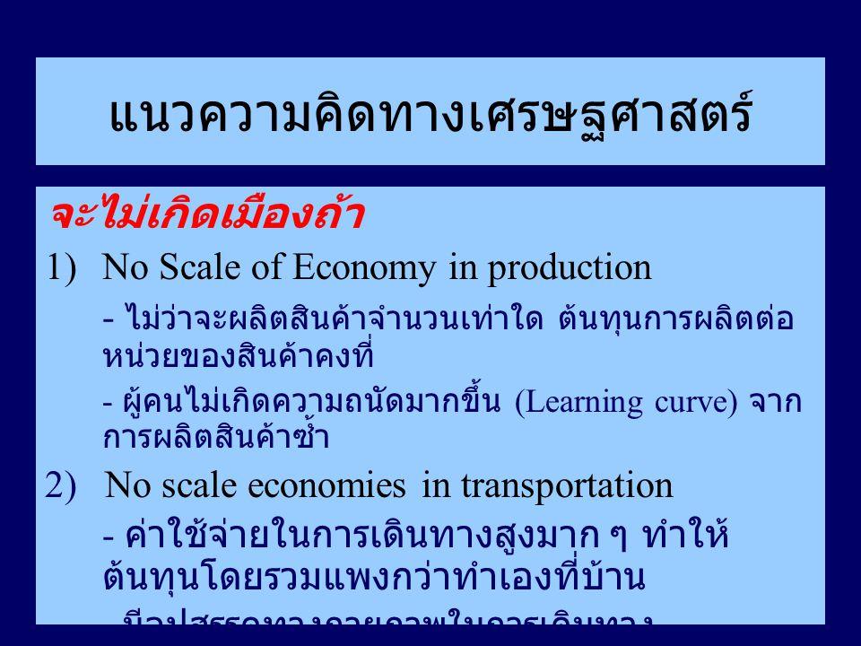 แนวความคิดทางเศรษฐศาสตร์ จะไม่เกิดเมืองถ้า 1)No Scale of Economy in production - ไม่ว่าจะผลิตสินค้าจำนวนเท่าใด ต้นทุนการผลิตต่อ หน่วยของสินค้าคงที่ -