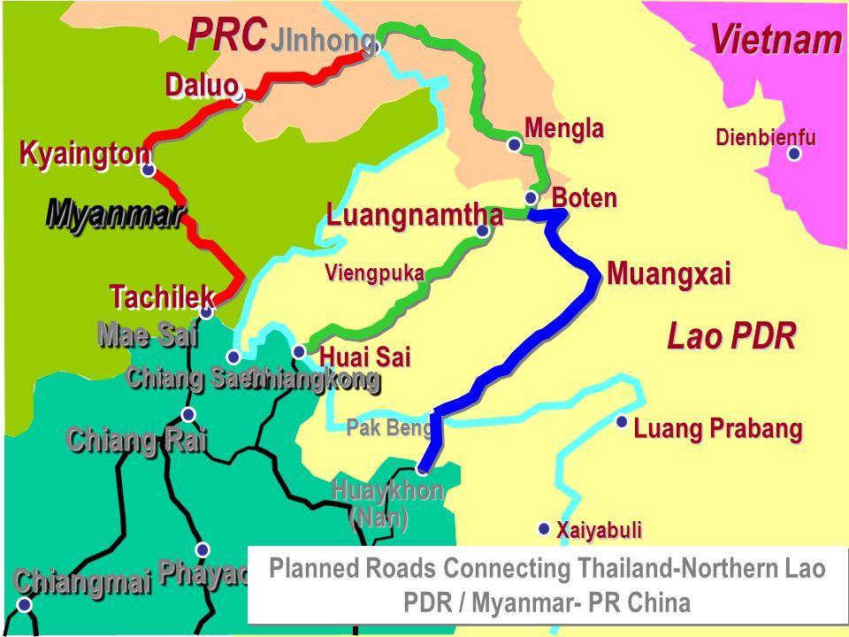 Pak Beng Luang Prabang Xaiyabuli Muangxai Huai Sai Luangnamtha Boten Mengla JInhong Kyaington DaluoDaluo Tachilek Mae Sai ChiangkongChiangkong Chiang